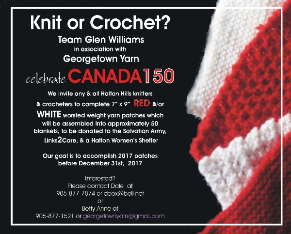 Help create 50 blankets for Canada 150 out of red and white yarn